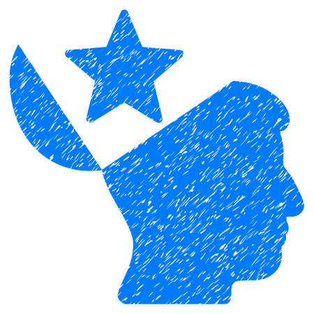 Open Head Star grainy textured icon for overlay watermark stamps. Flat symbol with dirty texture. Dotted glyph blue ink rubber seal stamp with grunge design on a white background.