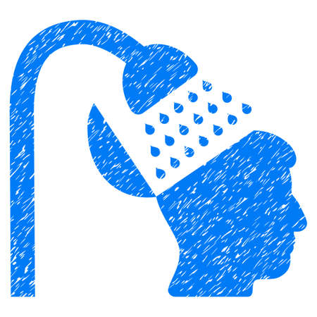 antiseptic: Open Mind Shower grainy textured icon for overlay watermark stamps. Flat symbol with scratched texture. Dotted glyph blue ink rubber seal stamp with grunge design on a white background.
