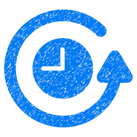 Restore Clock grainy textured icon for overlay watermark stamps. Flat symbol with scratched texture. Dotted glyph blue ink rubber seal stamp with grunge design on a white background.