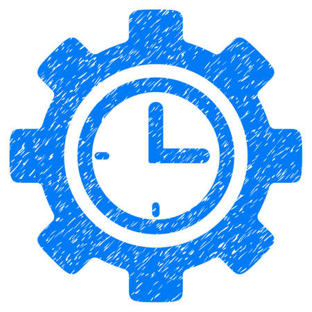 Time Setup Gear grainy textured icon for overlay watermark stamps. Flat symbol with dirty texture. Dotted glyph blue ink rubber seal stamp with grunge design on a white background.