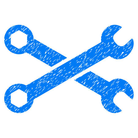 Wrenches grainy textured icon for overlay watermark stamps. Flat symbol with dust texture. Dotted glyph blue ink rubber seal stamp with grunge design on a white background.