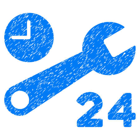 Service Hours grainy textured icon for overlay watermark stamps. Flat symbol with dust texture. Dotted vector blue ink rubber seal stamp with grunge design on a white background.