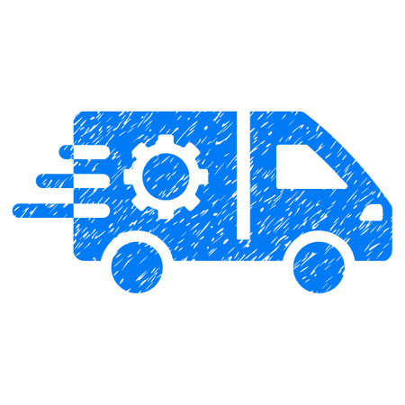 Service Car grainy textured icon for overlay watermark stamps. Flat symbol with dirty texture. Dotted vector blue ink rubber seal stamp with grunge design on a white background.