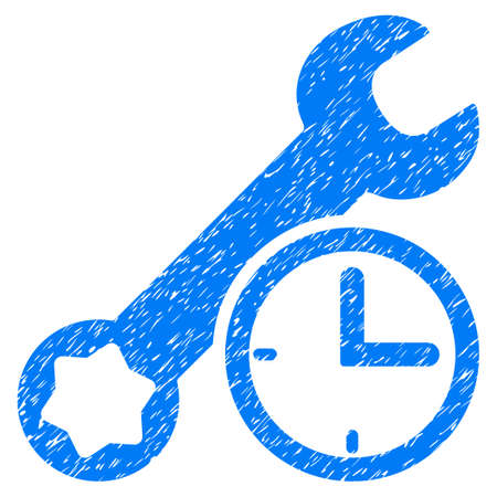 Service Time grainy textured icon for overlay watermark stamps. Flat symbol with scratched texture. Dotted vector blue ink rubber seal stamp with grunge design on a white background.