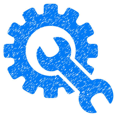 Service Tools grainy textured icon for overlay watermark stamps. Flat symbol with scratched texture. Dotted vector blue ink rubber seal stamp with grunge design on a white background.