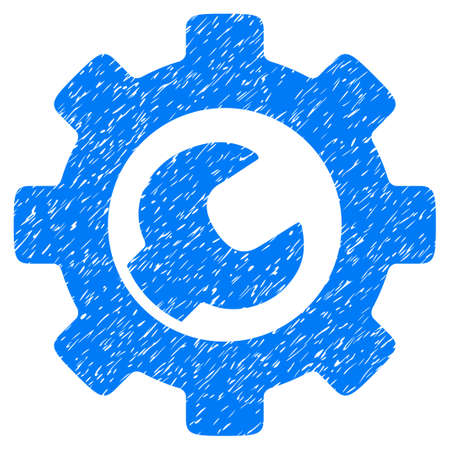 power wrench: Service Tools grainy textured icon for overlay watermark stamps. Flat symbol with scratched texture. Dotted vector blue ink rubber seal stamp with grunge design on a white background.