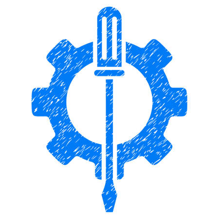 Tuning Options Gear grainy textured icon for overlay watermark stamps. Flat symbol with dirty texture. Dotted vector blue ink rubber seal stamp with grunge design on a white background. Illustration