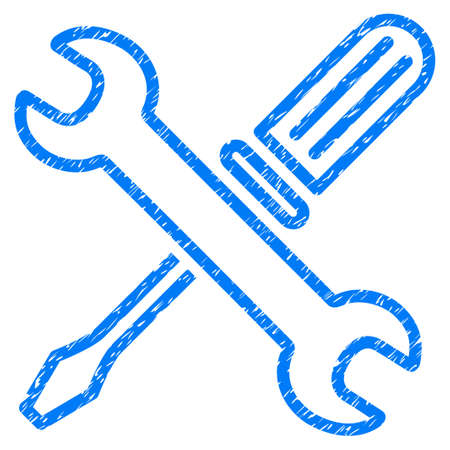 Tuning Tools grainy textured icon for overlay watermark stamps. Flat symbol with dust texture. Dotted vector blue ink rubber seal stamp with grunge design on a white background. Illustration