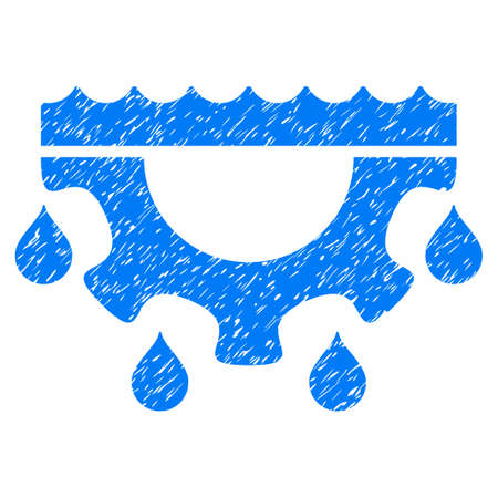 Water Gear Drops grainy textured icon for overlay watermark stamps. Flat symbol with dirty texture. Dotted vector blue ink rubber seal stamp with grunge design on a white background.