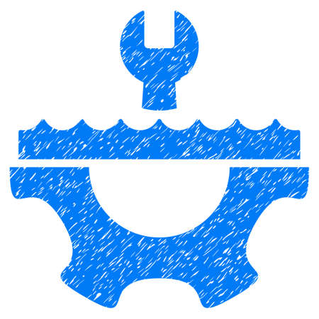 Water Service Gear grainy textured icon for overlay watermark stamps. Flat symbol with dirty texture. Dotted vector blue ink rubber seal stamp with grunge design on a white background.