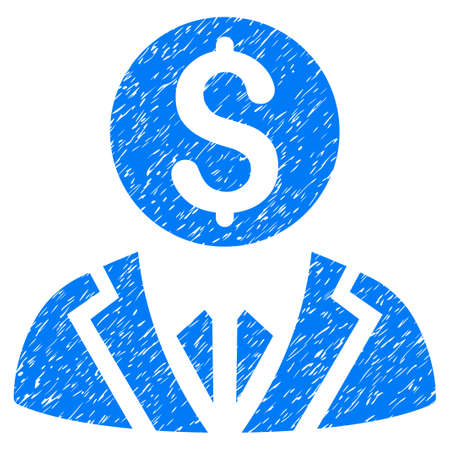 Banker grainy textured icon for overlay watermark stamps. Flat symbol with dust texture. Dotted glyph blue ink rubber seal stamp with grunge design on a white background. Stock Photo