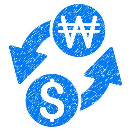 ganado: Dólar coreano Won Exchange icono texturado granulado para sellos de marca de agua de recubrimiento. Símbolo plano con textura rayado. Sello punteado del sello de goma de la tinta azul del glyph con diseño del grunge en un fondo blanco. Foto de archivo