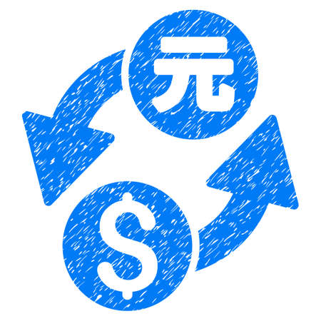 renminbi: Dollar Yuan Exchange grainy textured icon for overlay watermark stamps. Flat symbol with unclean texture. Dotted glyph blue ink rubber seal stamp with grunge design on a white background. Stock Photo