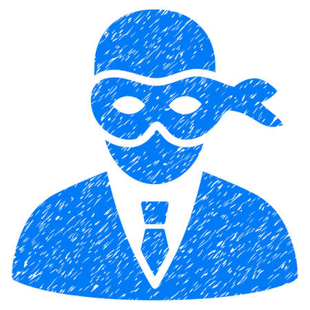 Masked Thief grainy textured icon for overlay watermark stamps. Flat symbol with dust texture. Dotted glyph blue ink rubber seal stamp with grunge design on a white background.
