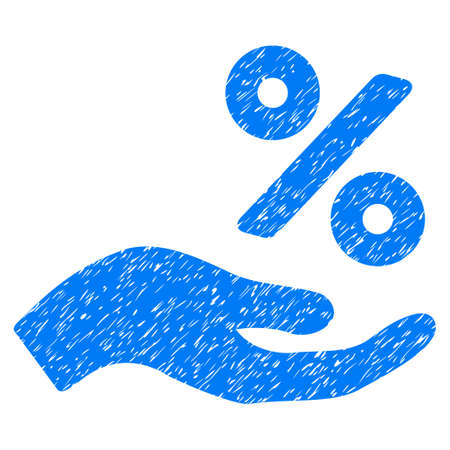Percent Offer Hand grainy textured icon for overlay watermark stamps. Flat symbol with dust texture. Dotted glyph blue ink rubber seal stamp with grunge design on a white background.