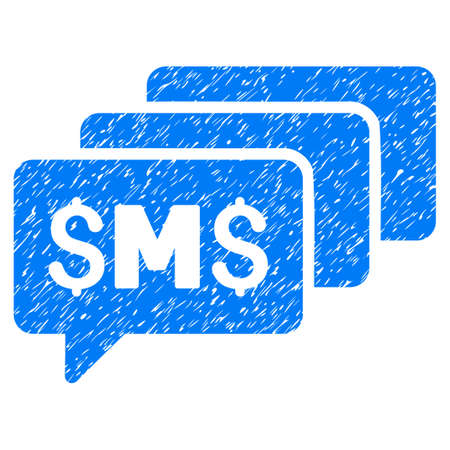 SMS Messages grainy textured icon for overlay watermark stamps. Flat symbol with unclean texture. Dotted glyph blue ink rubber seal stamp with grunge design on a white background. Stock Photo