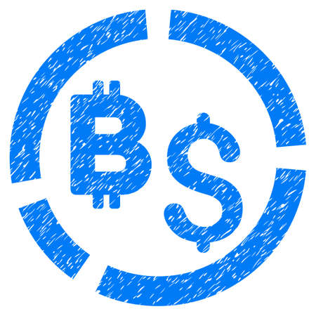 Bitcoin Financial Diagram grainy textured icon for overlay watermark stamps. Flat symbol with dirty texture. Dotted vector blue ink rubber seal stamp with grunge design on a white background. Illustration