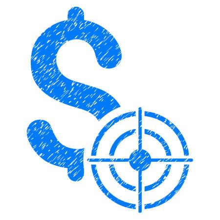 Negocio objetivo granulado icono con textura para sellos de marca de agua de recubrimiento. Símbolo plano con textura rayado. Sello punteado del sello de goma de la tinta azul del vector con diseño del grunge en un fondo blanco. Vectores
