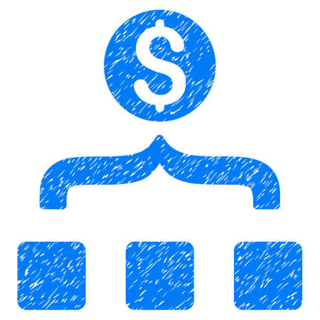 consolidate: Money Aggregator grainy textured icon for overlay watermark stamps. Flat symbol with scratched texture. Dotted vector blue ink rubber seal stamp with grunge design on a white background. Illustration