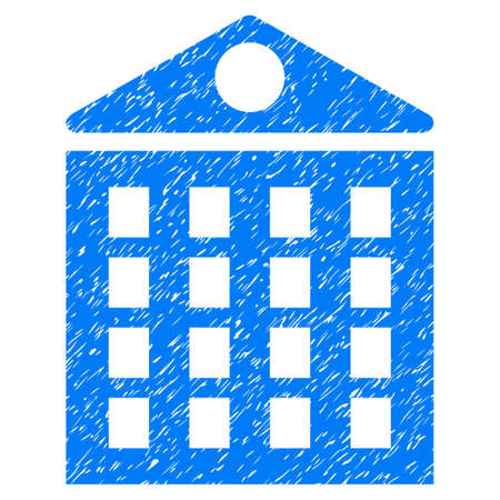 dirty house: Multi-Storey House grainy textured icon for overlay watermark stamps. Flat symbol with dirty texture. Dotted vector blue ink rubber seal stamp with grunge design on a white background.