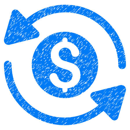 Money Turnover grainy textured icon for overlay watermark stamps. Flat symbol with unclean texture. Dotted vector blue ink rubber seal stamp with grunge design on a white background. Illustration