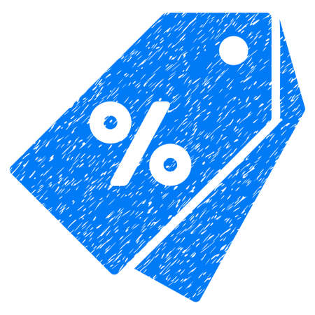 Percent Discount Tags grainy textured icon for overlay watermark stamps. Flat symbol with scratched texture. Dotted vector blue ink rubber seal stamp with grunge design on a white background. Illustration