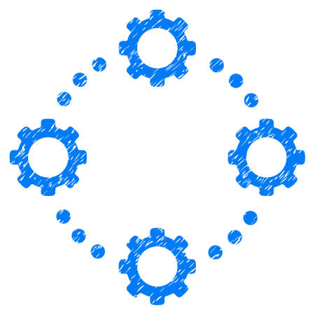 Gear Virtual Connection grainy textured icon for overlay watermark stamps. Flat symbol with scratched texture. Dotted vector blue ink rubber seal stamp with grunge design on a white background.