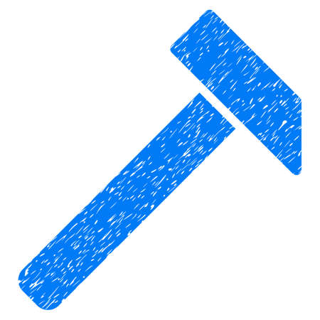 Hammer grainy textured icon for overlay watermark stamps. Flat symbol with scratched texture. Dotted vector blue ink rubber seal stamp with grunge design on a white background.