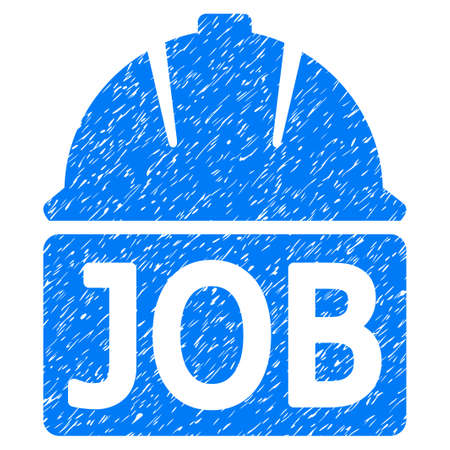 Job Helmet grainy textured icon for overlay watermark stamps. Flat symbol with unclean texture. Dotted vector blue ink rubber seal stamp with grunge design on a white background.