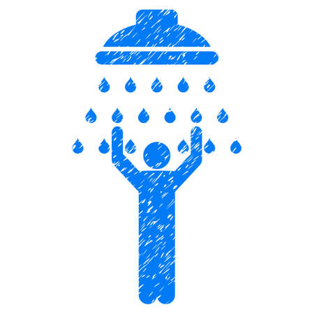 Man Under Shower grainy textured icon for overlay watermark stamps. Flat symbol with dust texture. Dotted glyph blue ink rubber seal stamp with grunge design on a white background.