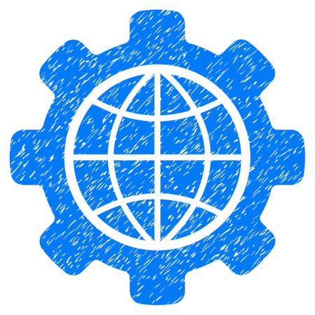 Global Options grainy textured icon for overlay watermark stamps. Flat symbol with scratched texture. Dotted glyph blue ink rubber seal stamp with grunge design on a white background.