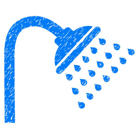 antiseptic: Shower grainy textured icon for overlay watermark stamps. Flat symbol with dust texture. Dotted glyph blue ink rubber seal stamp with grunge design on a white background.