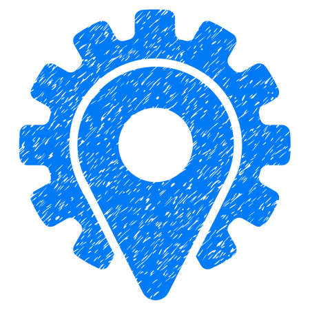Service Location grainy textured icon for overlay watermark stamps. Flat symbol with dirty texture. Dotted glyph blue ink rubber seal stamp with grunge design on a white background.