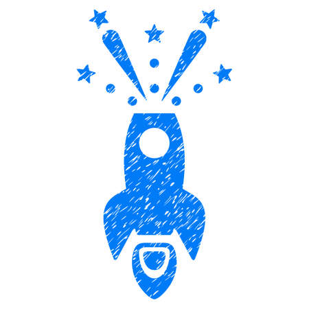 Space Rocket Boom grainy textured icon for overlay watermark stamps. Flat symbol with dust texture. Dotted glyph blue ink rubber seal stamp with grunge design on a white background. Stock Photo