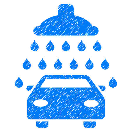 Car Shower grainy textured icon for overlay watermark stamps. Flat symbol with dirty texture. Dotted glyph blue ink rubber seal stamp with grunge design on a white background.