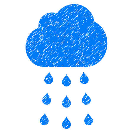 Rain Cloud grainy textured icon for overlay watermark stamps. Flat symbol with dirty texture. Dotted glyph blue ink rubber seal stamp with grunge design on a white background.