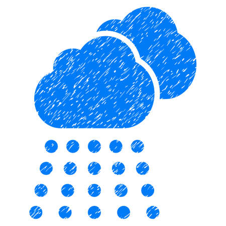 Rain Clouds grainy textured icon for overlay watermark stamps. Flat symbol with dirty texture. Dotted glyph blue ink rubber seal stamp with grunge design on a white background.