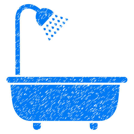 Bath Shower grainy textured icon for overlay watermark stamps. Flat symbol with dirty texture. Dotted vector blue ink rubber seal stamp with grunge design on a white background.