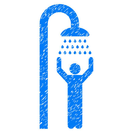 disinfection: Man Under Shower grainy textured icon for overlay watermark stamps. Flat symbol with dirty texture. Dotted vector blue ink rubber seal stamp with grunge design on a white background. Illustration
