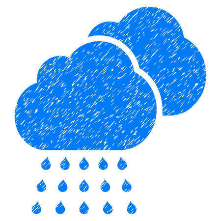 overcast: Rain Clouds grainy textured icon for overlay watermark stamps. Flat symbol with dirty texture. Dotted vector blue ink rubber seal stamp with grunge design on a white background. Illustration
