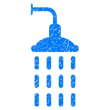 Shower grainy textured icon for overlay watermark stamps. Flat symbol with unclean texture. Dotted vector blue ink rubber seal stamp with grunge design on a white background.