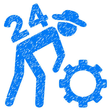 Nonstop Working Person grainy textured icon for overlay watermark stamps. Flat symbol with dust texture. Dotted glyph blue ink rubber seal stamp with grunge design on a white background.