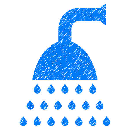 disinfection: Shower grainy textured icon for overlay watermark stamps. Flat symbol with dust texture. Dotted vector blue ink rubber seal stamp with grunge design on a white background. Illustration