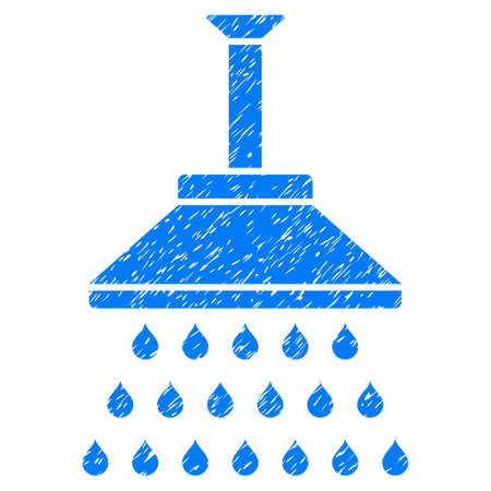 antiseptic: Shower grainy textured icon for overlay watermark stamps. Flat symbol with dirty texture. Dotted vector blue ink rubber seal stamp with grunge design on a white background.