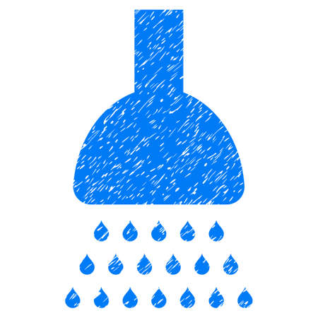 Shower grainy textured icon for overlay watermark stamps. Flat symbol with dust texture. Dotted vector blue ink rubber seal stamp with grunge design on a white background. Illustration