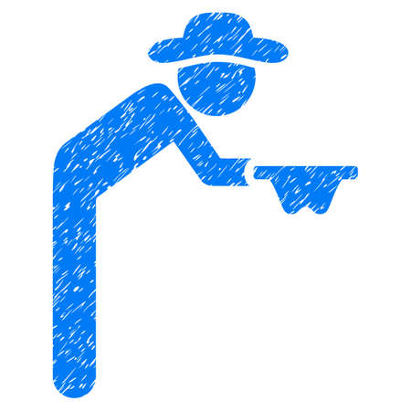 pauper: Gentleman Beggar grainy textured icon for overlay watermark stamps. Flat symbol with dust texture. Dotted vector blue ink rubber seal stamp with grunge design on a white background. Illustration