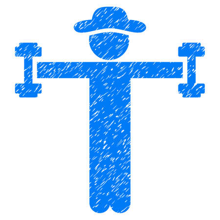 Gentleman Fitness grainy textured icon for overlay watermark stamps. Flat symbol with scratched texture. Dotted vector blue ink rubber seal stamp with grunge design on a white background.