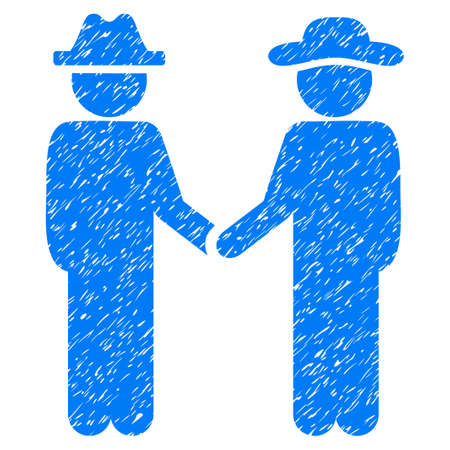 Gentleman Handshake grainy textured icon for overlay watermark stamps. Flat symbol with dirty texture. Dotted vector blue ink rubber seal stamp with grunge design on a white background.