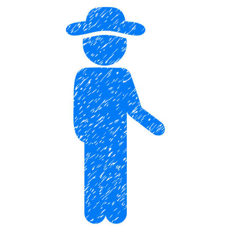 idler: Gentleman Idler grainy textured icon for overlay watermark stamps. Flat symbol with scratched texture. Dotted vector blue ink rubber seal stamp with grunge design on a white background. Illustration