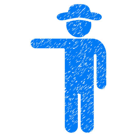 general manager: Gentleman Show grainy textured icon for overlay watermark stamps. Flat symbol with dirty texture. Dotted vector blue ink rubber seal stamp with grunge design on a white background.